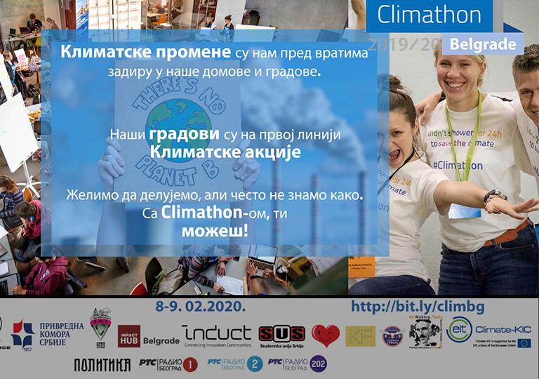 ДОЂИТЕ НА  Climathon Belgrade 2019/20  8. и 9. фебруар 2020.  ДА ТИМСКИ РЕШАВАМО КЛИМАТСКЕ И ИЗАЗОВЕ ОДРЖИВОГ РАЗВОЈА БЕОГРАДА!